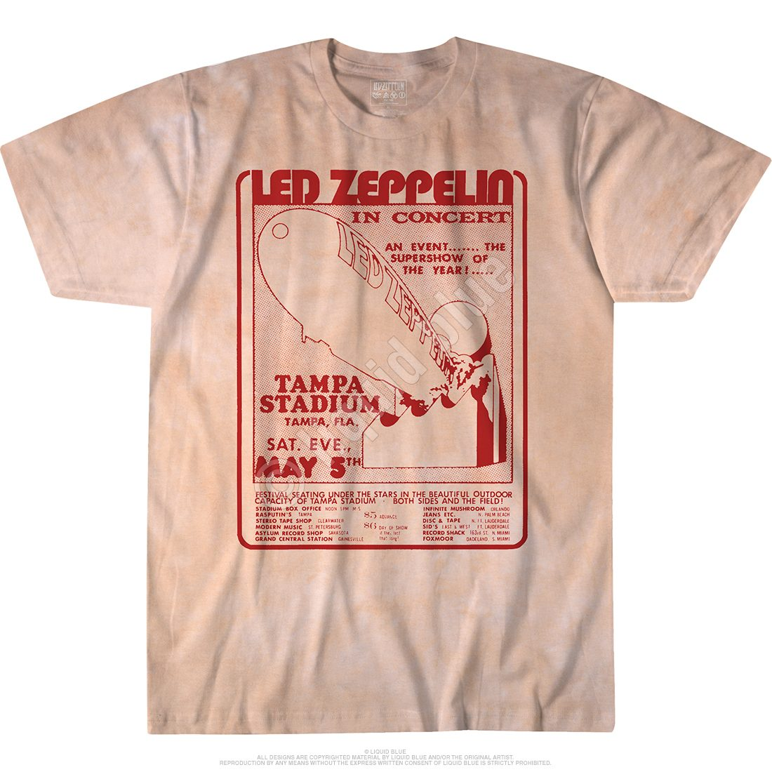 3a83ea03 Led Zeppelin In Concert Tampa Bay Tie Dye T Shirt
